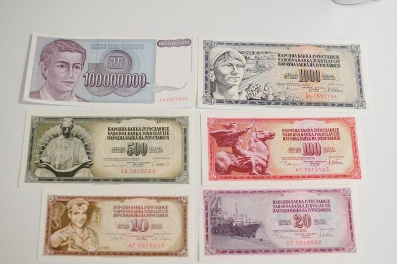 1978-1993 YUGOSLAVIA 6 Pc Banknote Lot Crisp Uncirculated