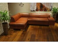 For Sale ! Real Genuine Glossy Italian Leather Corner Sofa Bed 185x275cm for SALE ! Couch in Stock