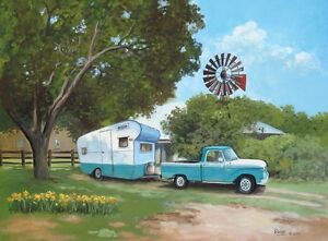 Vintage-1957-Scotsman-Travel-Trailer-Camper-66-FORD-f100-Windmill-TX-RV-LG-ART