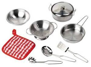 Kochset für Kinder Kinderküche Küchenset Kindergeschirr Topf 9 Teile Topfset