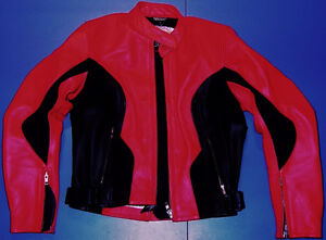 Teknic Girls Leather Motorcycle Biker Jacket-Bright Red