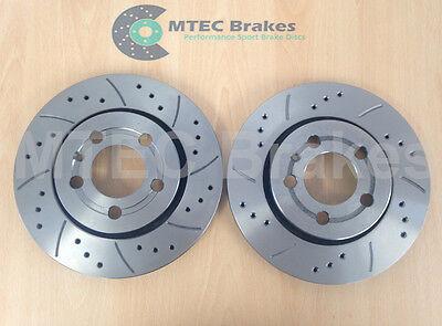 AUDI TT 225 3.2 8N3/8N9 Drilled Grooved MTEC Brake Discs Rear Vented 256mmx22mm
