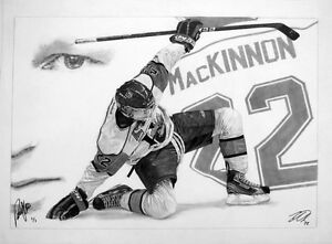 "Nathan MacKinnon signed sports art | 20"" x 28"" original drawing"