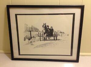 Peter Etril Snyder Black & White Sketch Framed Print Mennonites