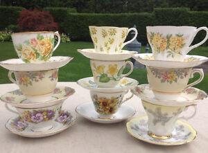 Teacups Royal Albert, Paragon Wedgwood Colclough Yellow Tea Cups