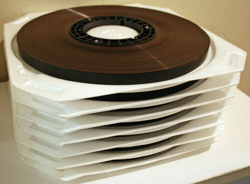 """AMPEX 456 1/2"""" RECORDING TAPE - 7 ROLLS OF 1 PASS TAPE ON NAB HUBS"""