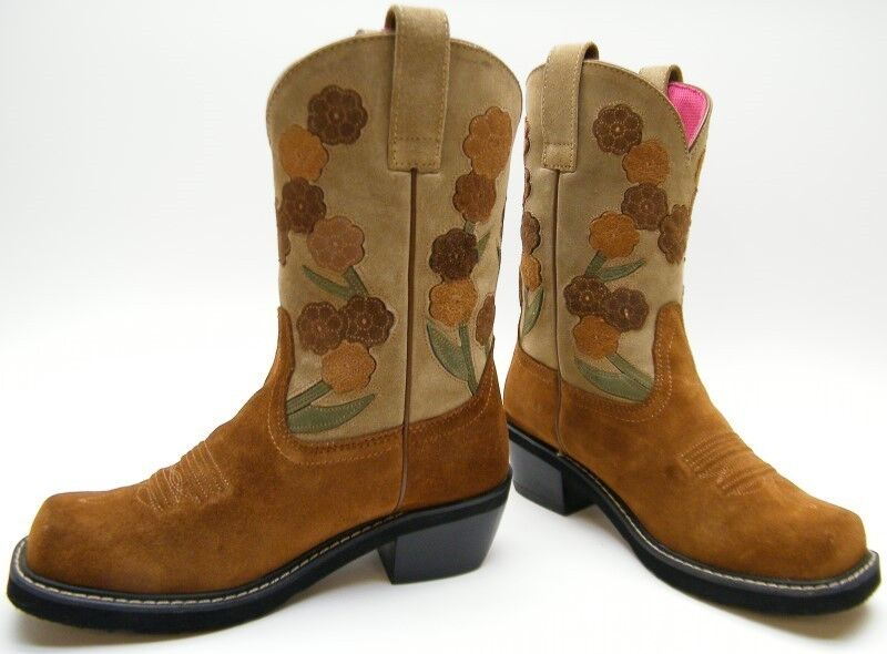 9b233718e537e Details about WOMENS ARIAT Doll Baby 16230 Suede Leather Square Toe Floral  Cowboy Boots 8.5 B