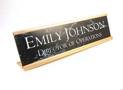 Personalized Desk Name plate black marble look with gold aluminum holder 2x8