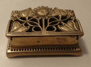 Vintage French Rococo Floral Embossed Brass Trinket/ Pill Box