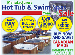 Manufacturers Hot Tub and SwimSpas Year End Sale