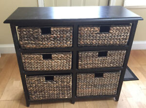 Cabinet/Sid Table  with Wicker Basket Drawers