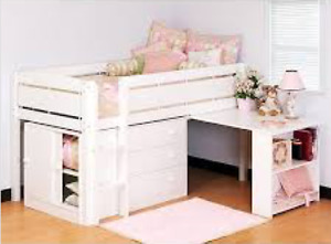 Loft Bed with Matching Pull Out Desk and Dressers- White