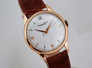 VINTAGE IWC 18K ROSE-GOLD RARE BIG 36MM WATCH LEGENDARY 89 CAL.