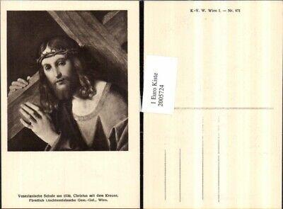 2005724,Künstler AK Christus mit dem Kreuze u. Dornenkrone (Kreuz Mit Dornenkrone)