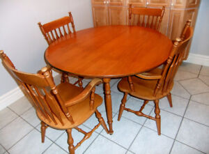 Solid Maple Roxton Drop Leaf Table And Four Armchairs