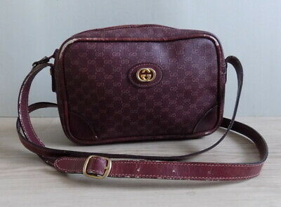 GUCCI Vintage Leather Shoulder Bag Small Italy 067