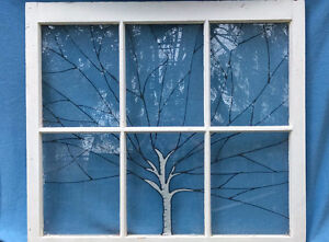 Birch tree stained glass antique window