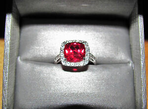 Size 7 Cushion Cut Ruby & White Sapphire Halo Ring Gold