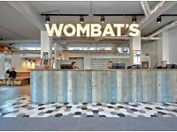 wombats Hostel London is hiring NIGHTshift receptionists (part time only)!