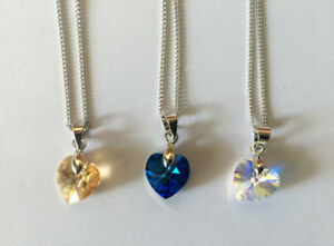 crystal heart pendant in blue, white, or yellow