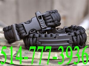 Bracelet Survival Paracord kit Whistle Gear BLK Flint Starter Sc