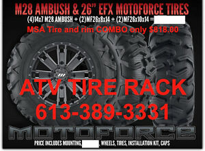 "M28 MSA 14"" WHEELS & 26"" EFX MOTOFORCE COMBO KIT  ATV TIRE RACK Kingston Kingston Area image 2"
