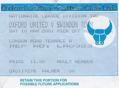 Ticket - Oxford United v Swindon Town 10.03.01