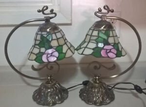 Vintage Tiffany Style Stained Glass Floral Table Lamps