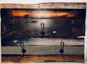 Rustic Coat Rack with Wire Hooks