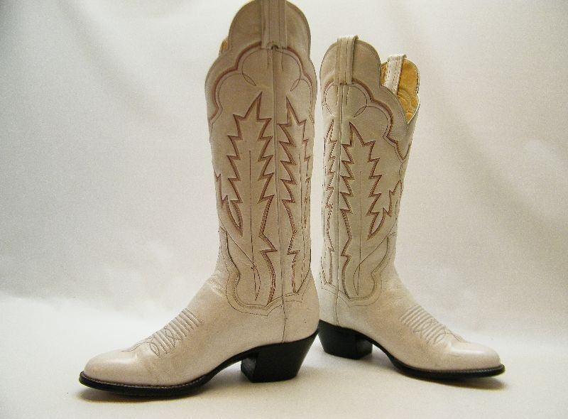 b72404dd145 Details about WOMENS PANHANDLE SLIM WHITE LEATHER TALL DRESS COWBOY WESTERN  BOOTS SZ 5 B 5B