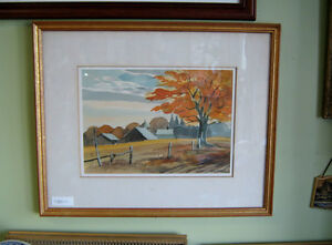 FRAMED WATERCOLOR FARM AT GLEN MAJOR by W. COUCILL RCA 1915-1982