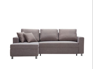 Condo Size Fabric Sectional L Shape Sofa Bed with storage