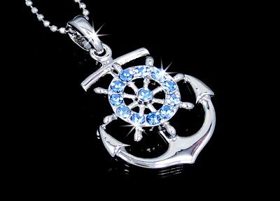 Anchor With Wheel Silver Tone Auqa Blue Austrian Crystal Pendant Charm Necklace