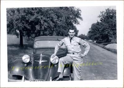 1950s US Army GI with German 1937-1938 Adler Trumpf Diplomat Sedan/Coupe Photo