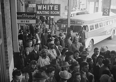 1943 Bus Station Black Segregation PHOTO White Waiting Room Sign, Civil Rights