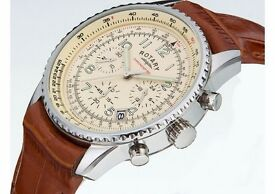 Rotary Men's Brown Strap Chronograph Watch.