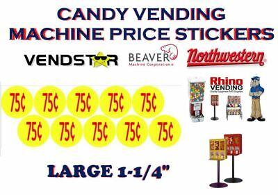Bulk Vending Label Candy Machine Price Sticker .75 Cent