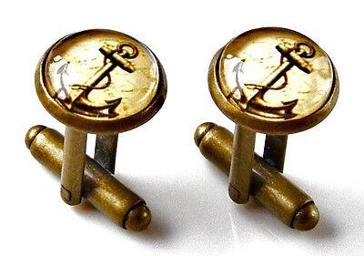 Anchor Cufflinks - Men's Jewelry - Handmade - Gift Box Included
