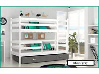 "Children's Bunk Bed ""JACK"" with Mattresses and Storage Drawers NEW!!! white gray pink"