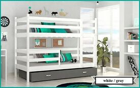 BUNK BED JACK CHILDRENS BUNK BED WITH 2 MATTRESSES AND STORAGE DRAWER white/gray white/blue green
