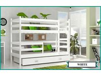 Children's Bunk Bed with 2 Mattresses and Storage Drawer. Brand new! White/Pink and All White