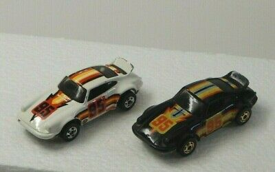 Vintage Hot Wheels Porsche P-911 Lot of 2 White and Black Racing #95