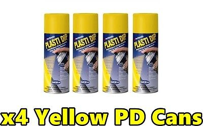 Performix Plasti Dip Yellow 4 Pack Rubber Coat Spray 11oz Aerosol Cans Free Ship