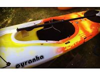 Never been used Pyranha Fusion Kayak, Bouyoncy aid and paddle