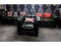 Stunning Chesterfield Winchester 2 & 3 Seater Sofas & Chair Green Leather - UK Delivery