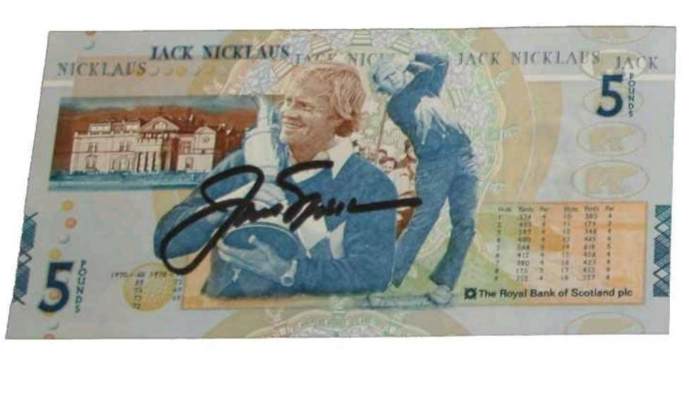 Autographed Jack nicklaus £5 note