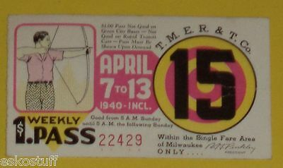 Milwaukee Electric Railway & Transport Co April 7, 1940 Trolley Pass Archer See!