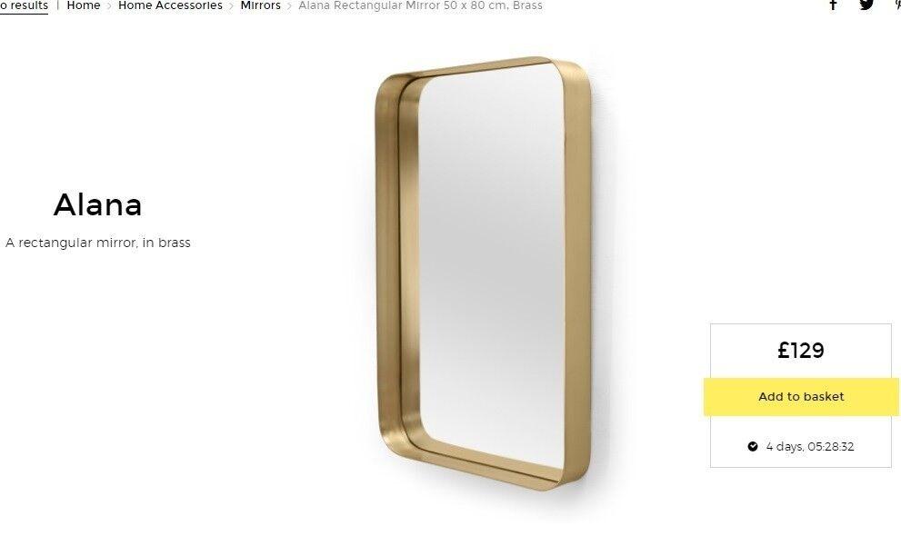 1500x900mm Bathroom Mirror Large Bevel Edge Wall Mounted Rectangle Frameless New: NEW MADE. Com Alana Brass Rectangular 50 X 80cm Wall