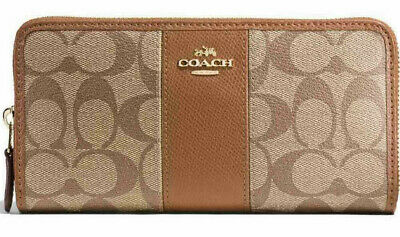 Coach Women's Accordion Zip Wallet in Signature Coated Canvas w/ Leather Stripe