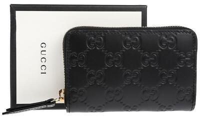 NEW GUCCI BLACK GG SIGNATURE LEATHER LOGO ZIP AROUND CARD CASE WALLET W/BOX